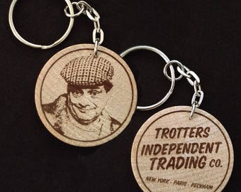 Del Boy Derek Trotter - Trotters Independent Trading Co Hand Made Engraved Wood Keyring Keychain