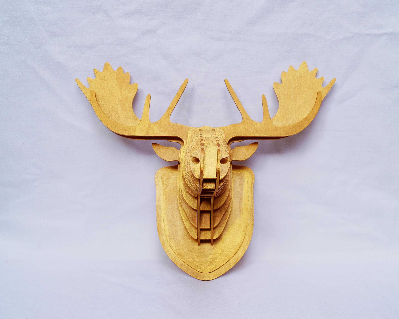 Wooden elk head faux taxidermy trophy head animals gold animal ...