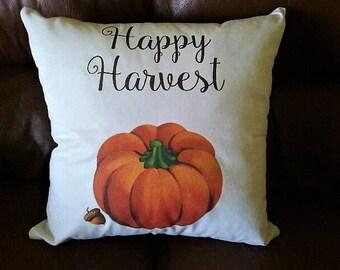 "Happy Harvest Pumpkin Pillow 18x18"""