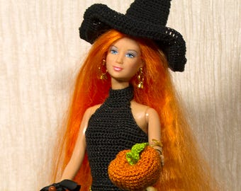 Handmade crochet  Witch Gown Barbie clothes barbie crochet Barbie fantasy Handmade barbie crochet pumpkin