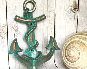 ON SALE Copper Patina Anchor Decor - Anchor Wall Hook - Nautical Nursery Wall Decor - Beach House Decor - Bathroom Towel Hooks - Pool House
