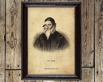 John Dee, occultist, alchemist, mage, Magician print, magus, occult reproduction, hermetism, magic wall hanging, alchemy decor, occult, 302