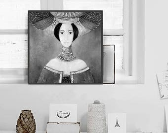 Printable woman painting, Vintage Inspired, Wall Hanging - Illustration, dreamy digital image, black and white print, portrait,
