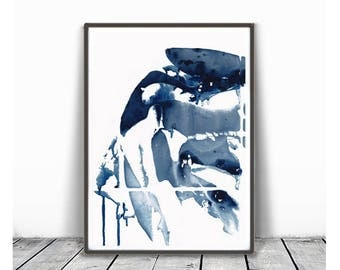 Indigo Print, Printable Abstract Art, Modern Abstract Watercolor Print, Indigo Wall Art, Modern Watercolor Art, Navy Blue Watercolor Print