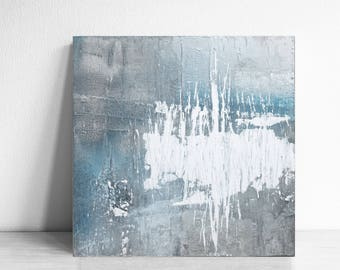 Original Fine Art Abstract, Contemporary Wall Art, Modern Art, silver leaf and white blue, texture abstract wall , original fine art
