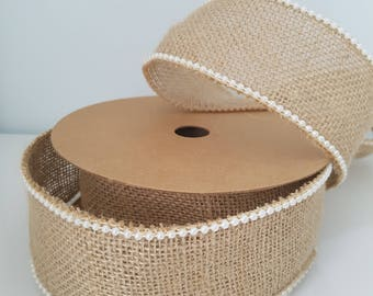 Rustic Wedding Party JUTEX NATURAL RIBBON With White Pearl Bead Edges Jute Hessian Tape Roll Wrapping Mesh Burlap, 5m