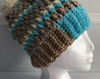 Beachy tones slouchy winter hat with pompom