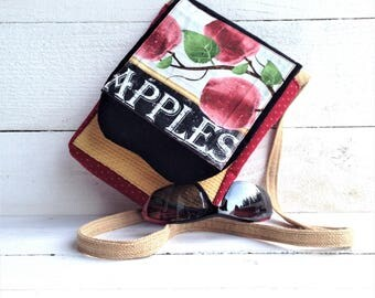Red Apple Theme, Every day small bag, Upholstery fabric, Handmade, One of a kind, Statement purse, Teacher Gift, Travel Accessory, Crossbody