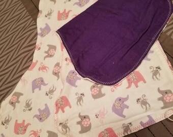 Elephant burp cloths & pacifier holder