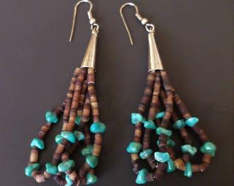 Sterling Natural Stones Tribal Dangle Earrings.
