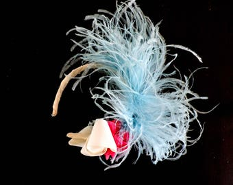 Pastel Baby Blue Ostrich Feather Art Deco Headband Flapper Great Gatsby Fascinator
