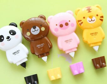 Animal-Shaped Correction Tapes / Cute Correction Tape / Kawaii Correction Tape / Cute Stationery / Kawaii Stationery / Cute School Supplies