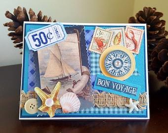 Bon Voyage Card * Safe Travels Card * Embellished Travel Card