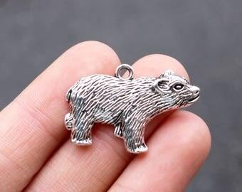 set of 25, walking bear charm, silver charm, metal charm, silver bear  charm, 30mm ×20mm, bear charm, nature park, nature reserve charm,