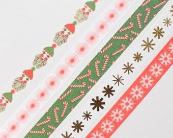 Santa Washi tape, Christmas gold masking tape, gold washi tape, stars masking tape