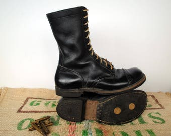 Black Paratrooper Combat Boots  – 50's-60's Vintage Made in USA -  Size USm 10.5 D, USL 12 EU44  - 12 Hole Tall Punk Commando Boots