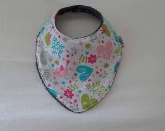 Beautiful heart bird bandana bib handmade