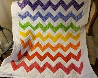 Chevron Rainbow Baby Quilt
