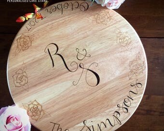 Custom cake stand, wedding cake board, lazy Susan, wooden board stand, wooden wedding cake board, wood board, wood stand, wedding day cake