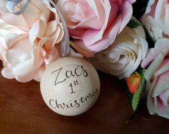Personalised wooden bauble, personalised Christmas bauble, Christmas decoration, wooden christmas, rustic christmas, christmas ornament,