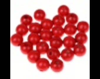 25 round beads 10 mm red wooden pacifier clip