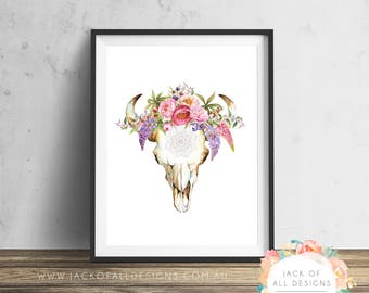 Cow Skull Tribal Floral - Wall Art Print