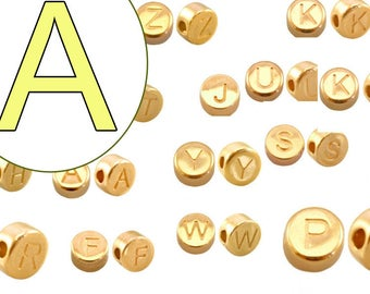 alphabet bead A 7mm gold plated #3737