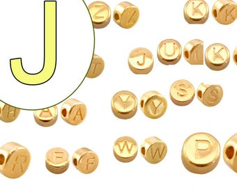 alphabet bead J 7mm gold plated #3863