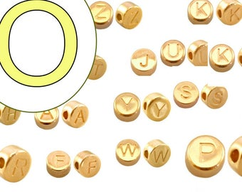 alphabet bead O 7mm gold plated #3849