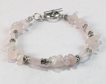 Handmade Women's Genuine Pink Rose Quartz Beaded Bracelet Jewelry Rose Quartz Bracelet Gift for her Women's beaded Bracelet Taurus Bracelet