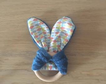 Rattle teething baby, Bell drops vintage blue orange yellow grey and teal soft fabric