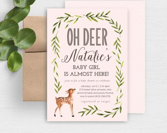 oh deer baby shower invite woodland animal baby shower invitation rustic baby shower invite