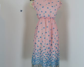 1950s Dress - Pink Blue Floral Chiffon - Short Sleeve - Midi - Tie Shoulders - Handmade - Spring Summer - Vintage - Size Extra Small