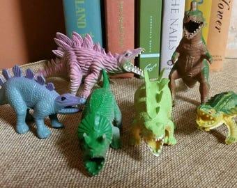 Vintage Miniature Dinosaurs/Rubber/PVC Vinyl/Vintage 1980s Dinosaurs/Diorama/Crafting/Terranium Figures/Kid's Room Decor/Cake Toppers