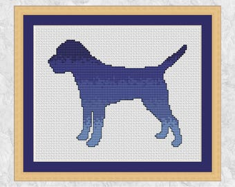 Border terrier cross stitch pattern PDF, silhouette dog breed, modern embroidery design, gift for dog owner or animal lover, printable PDF