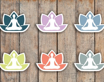 42 Yoga, Health, Fitness, Working Out, Meditation, Lotus Icon Stickers for 2018 inkWELL Press Planners IWP-Q10