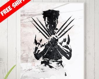 Wolverine Xmen, Wolverine Gift, Wolverine Marvel, Wolverine Print, Wolverine Poster, Movie Poster, Minimalist, Black White, Free Shipping