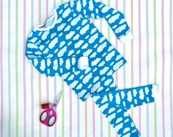 Blue kids pyjamas, unisex kids pyjamas, jersey pyjamas, jersey sleepwear, childrens pjs, kids pajamas, Christmas pyjamas, gifts for kids