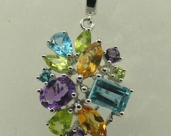 Multi-Color 9.82ct Gemstone Pendant with Sterling Silver Setting