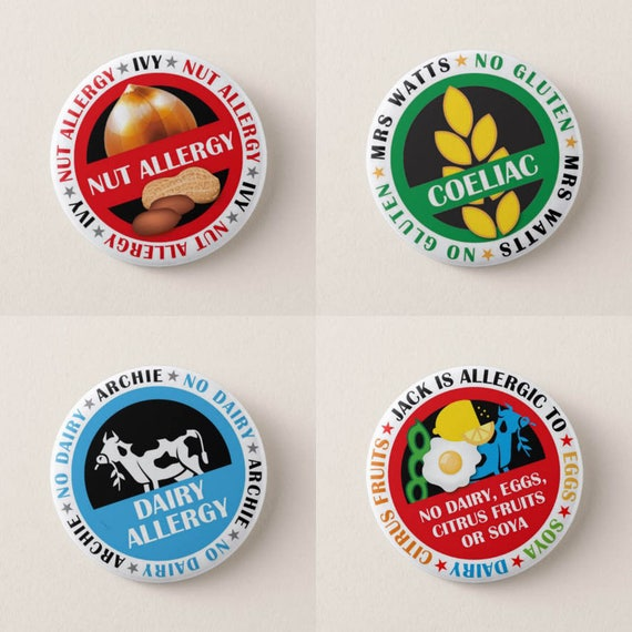 Personalised Free From Badges. Nut Allergy. Dairy Allergy. Coeliac. Wheat Allergy. Peanut Allergy. Soy Allergy. Milk Allergy. Egg Allergy