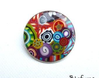 "Small brooch, polymer ""multicolor"" patterns"