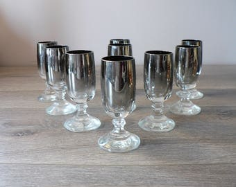 Mid Century Modern Silver Ombre Stemmed Shot Glass Set of 9  -  mad men bar accessories