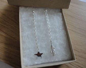 Pretty Feather & Star Drop Earrings