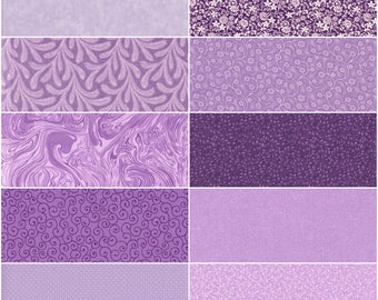 Lot of 10 Fat Quarters, Light Purple, Lavender, Plum, Violet and more, Quilting Sewing Cotton Fabric in many Shades of Purple