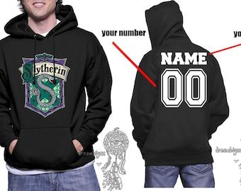 Custom on back, Slyth Crest #2 Color printed on Black Hoodie