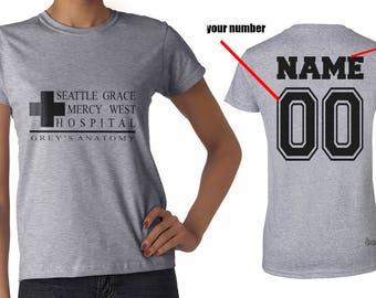 Custom back Seattle Grace Mercy West Hospital printed on Women tee Sport Grey