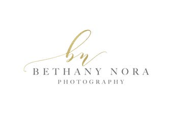 Pre-made Photography Logo, Initial Heart Logo, Script Logo, Premade Watermark for Photographers, Gold Foil Logo, Logos and Watermarks