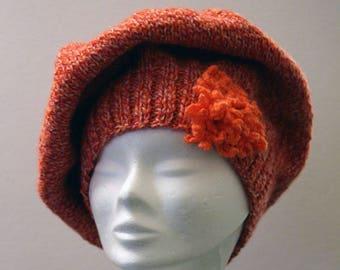 Orange Hat knitted in wool