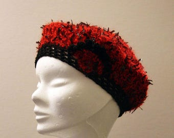 Red and black crochet beret