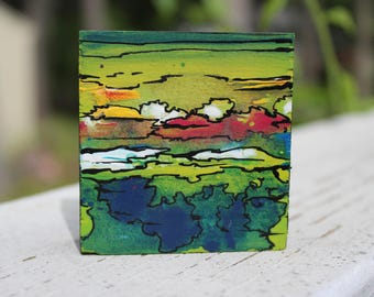 Mini Abstract Painting (Green/Blue)